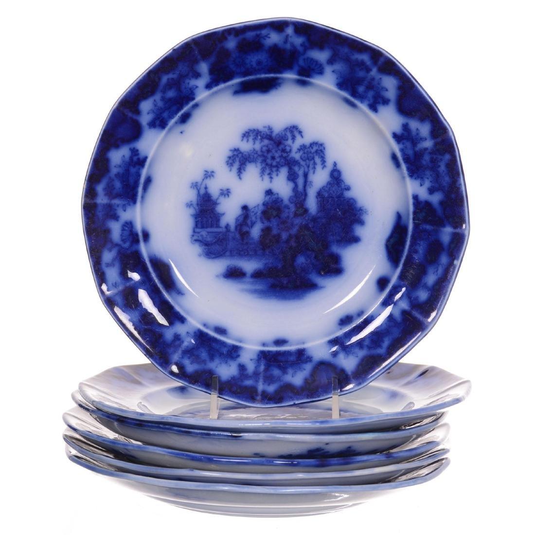 (6) Flow Blue Scinde Pattern Plates