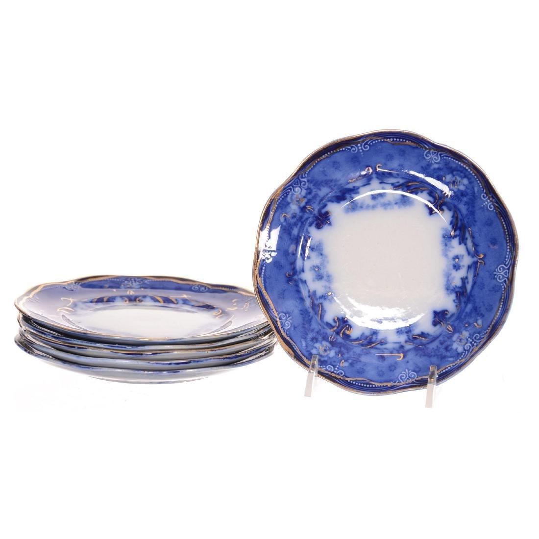(6) Flow Blue Verona Pattern Dessert Plates