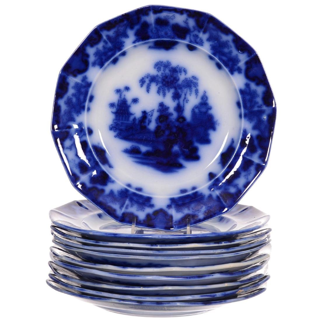 (10) Flow Blue Scinde Pattern Plates by Alcock