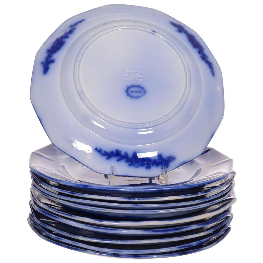 (10) Flow Blue Scinde Pattern Plates by Alcock - 2
