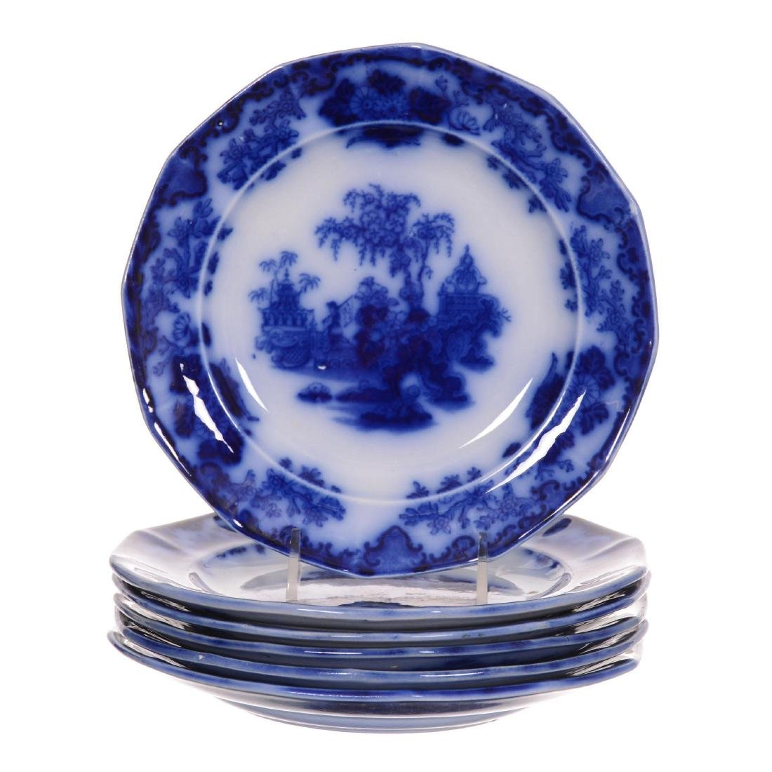 (6) Flow Blue Scinde Pattern Luncheon Plates