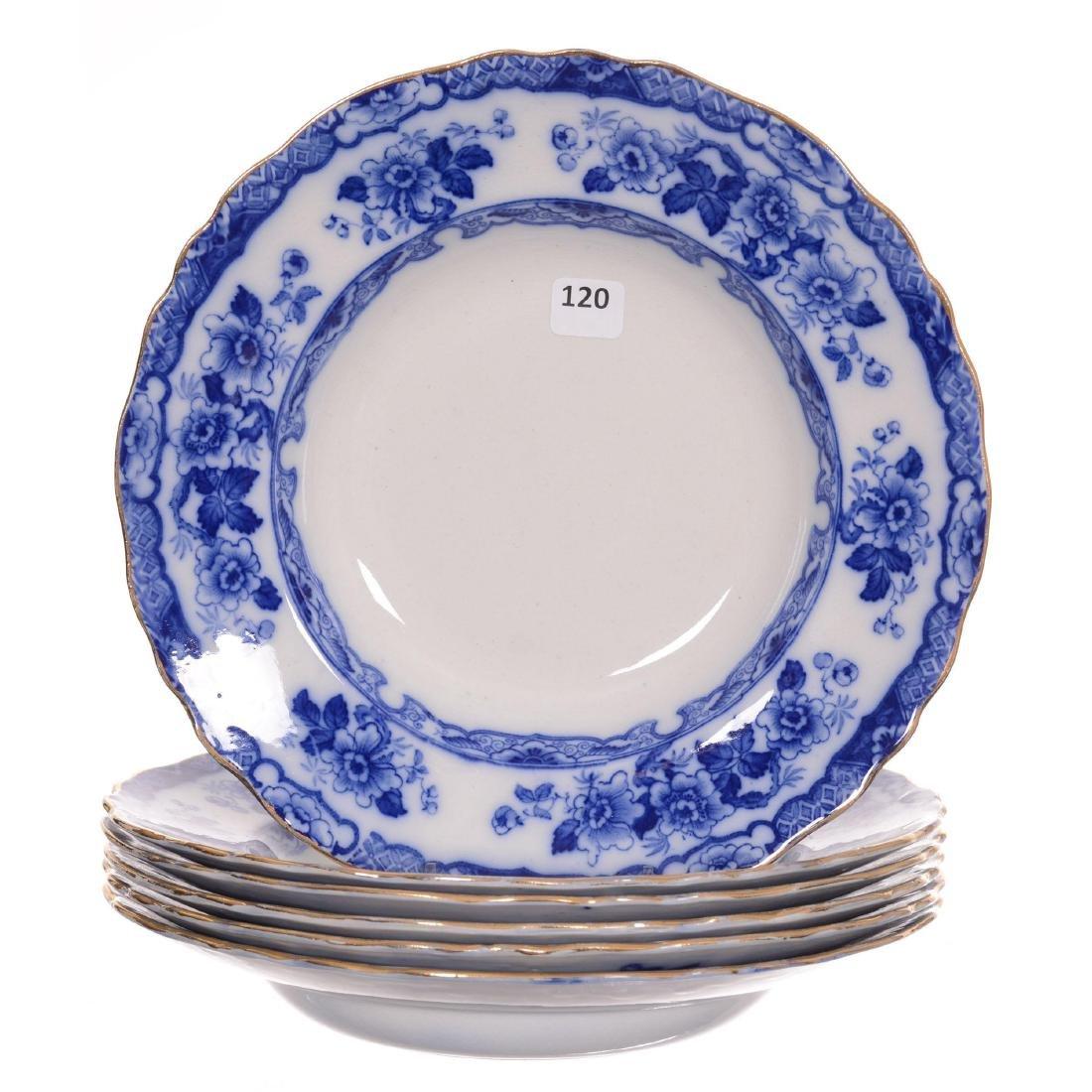 (6) Flow Blue Japan Pattern Soup Bowls