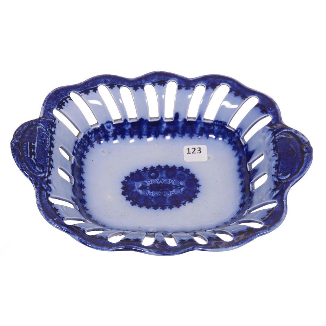 Flow Blue Pierced Bowl