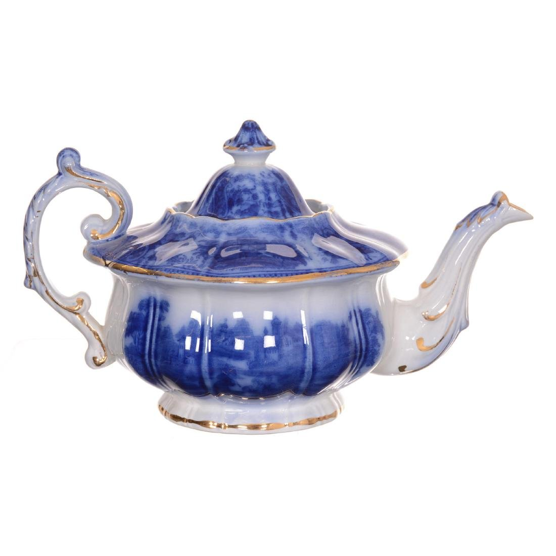 Flow Blue Non Pareil Pattern Tea Pot