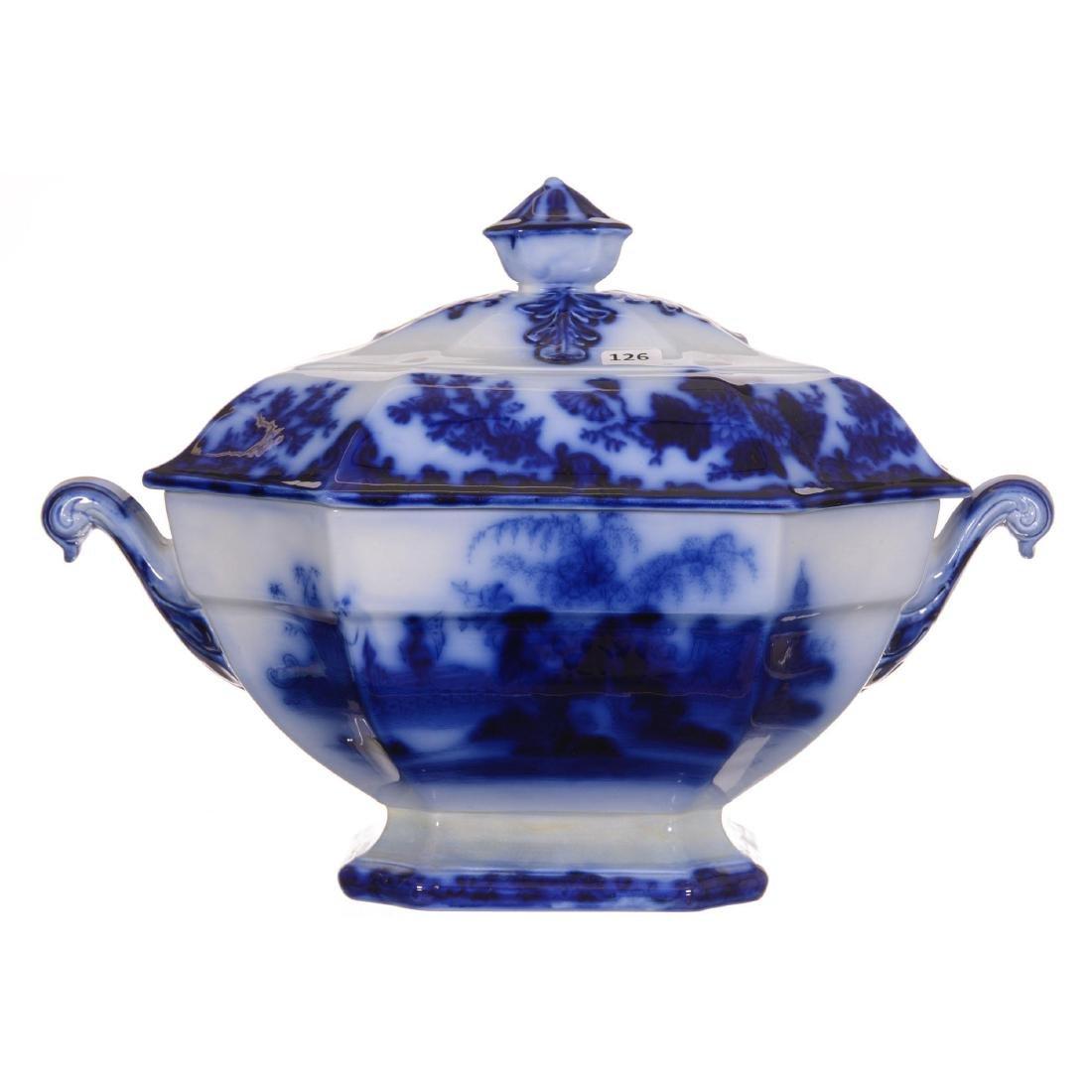 Flow Blue Scinde Pattern Large Covered Tureen