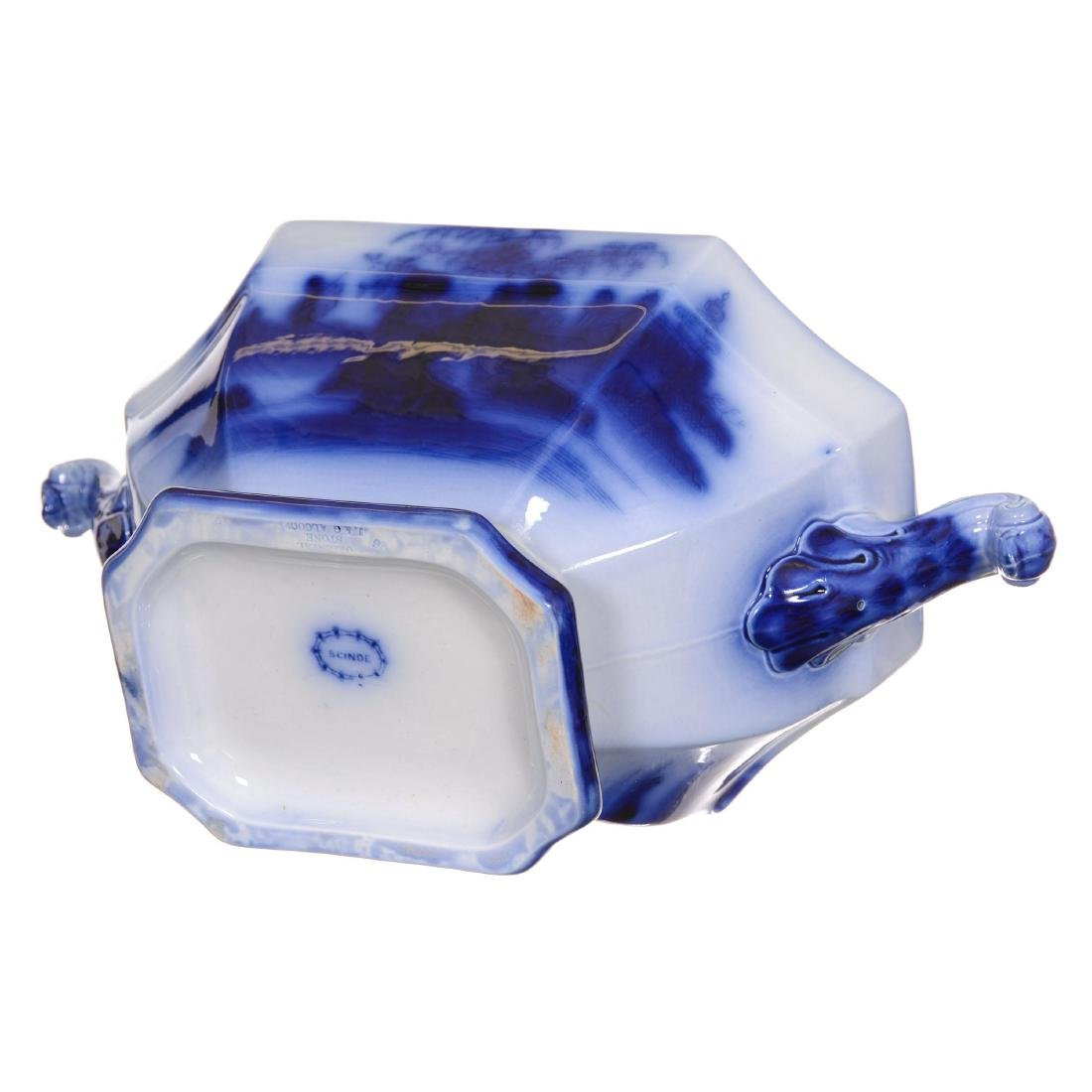 Flow Blue Scinde Pattern Large Covered Tureen - 2