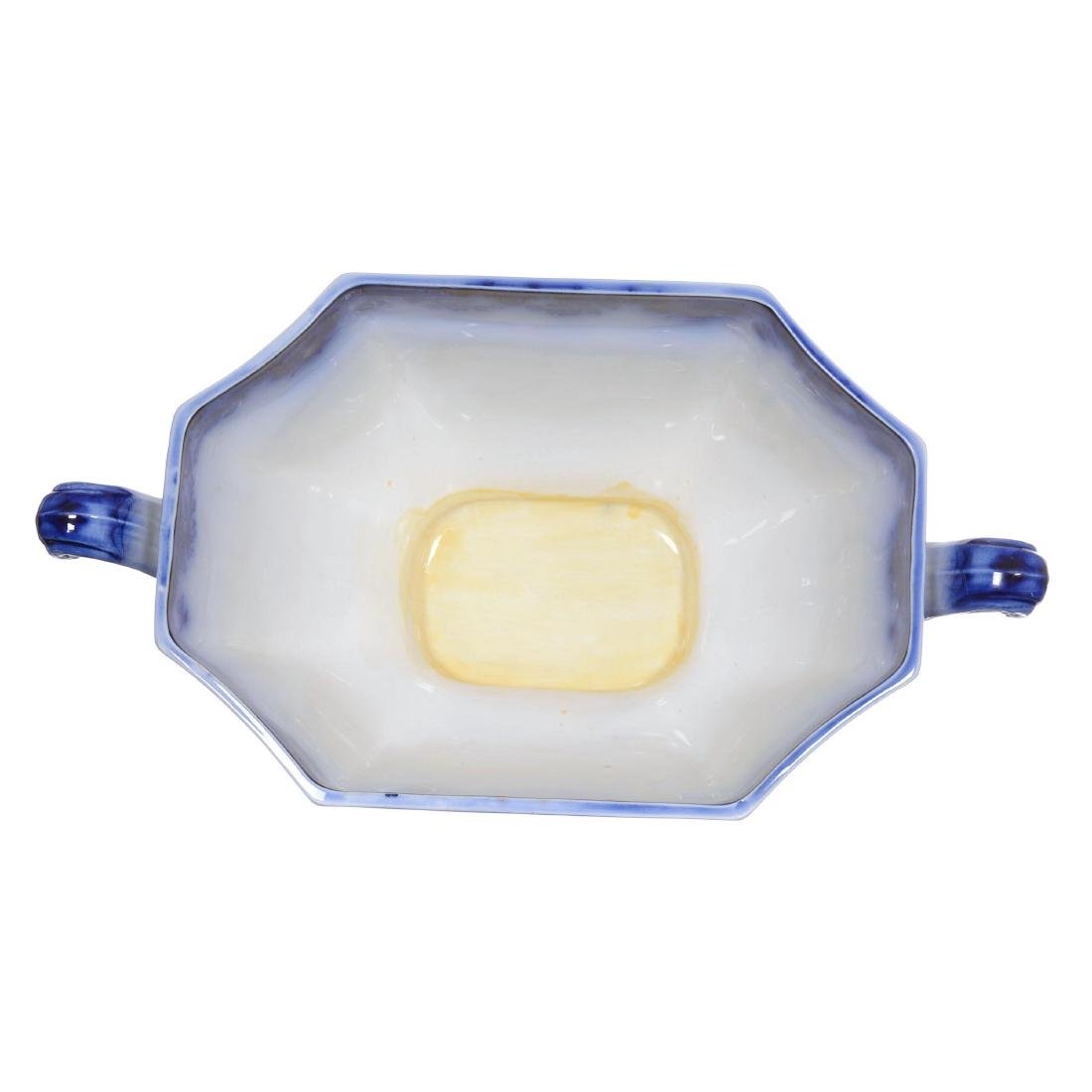 Flow Blue Scinde Pattern Large Covered Tureen - 3