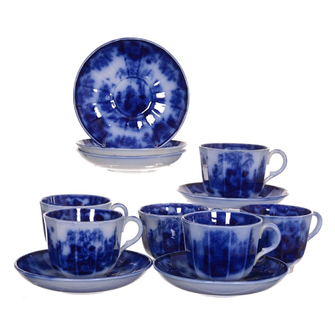 (6) Flow Blue Scinde Pattern Cups and Saucers