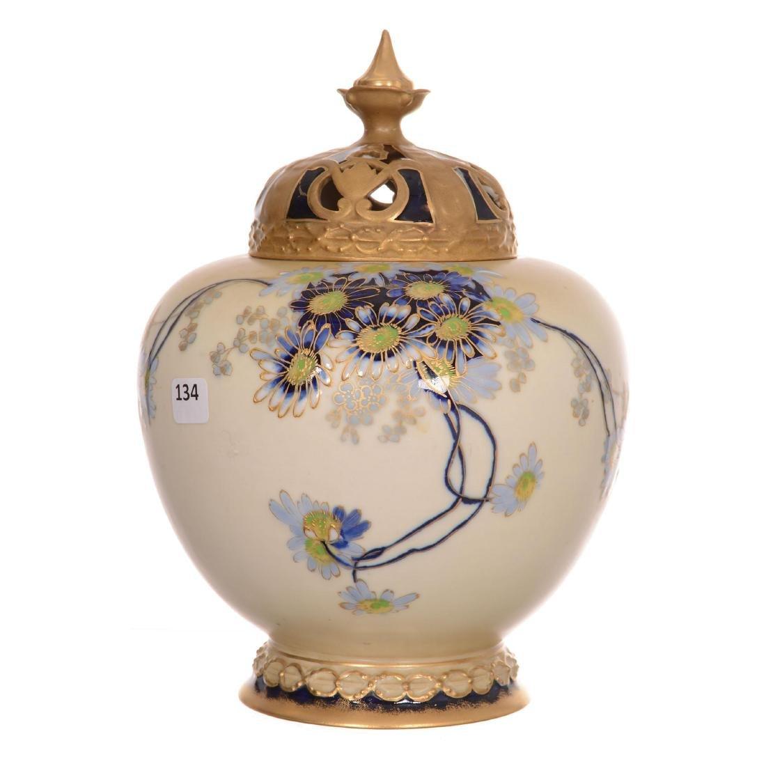 Austrian Covered Urn Marked Alexandra Porcelain Works