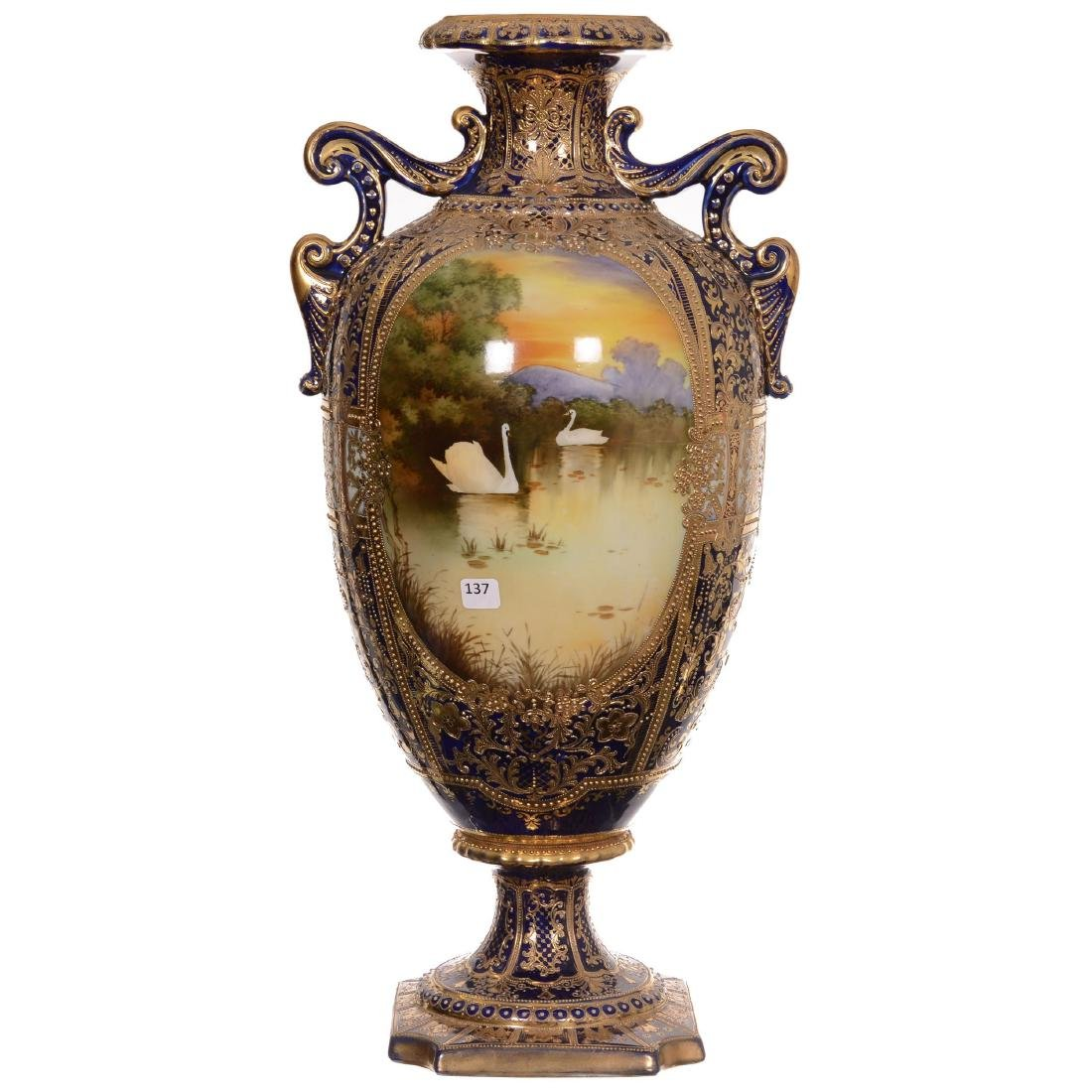 Large Nippon Pedestal Two-Handled Vase