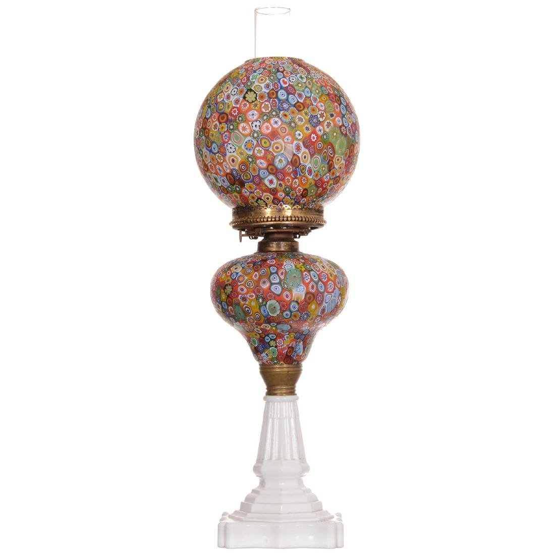 Antique Millefiori Art Glass Banquet Lamp