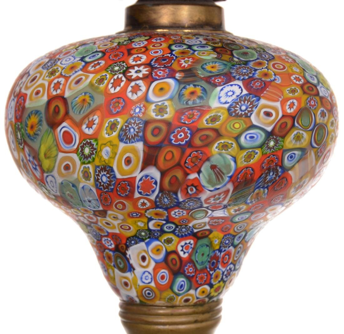 Antique Millefiori Art Glass Banquet Lamp - 3