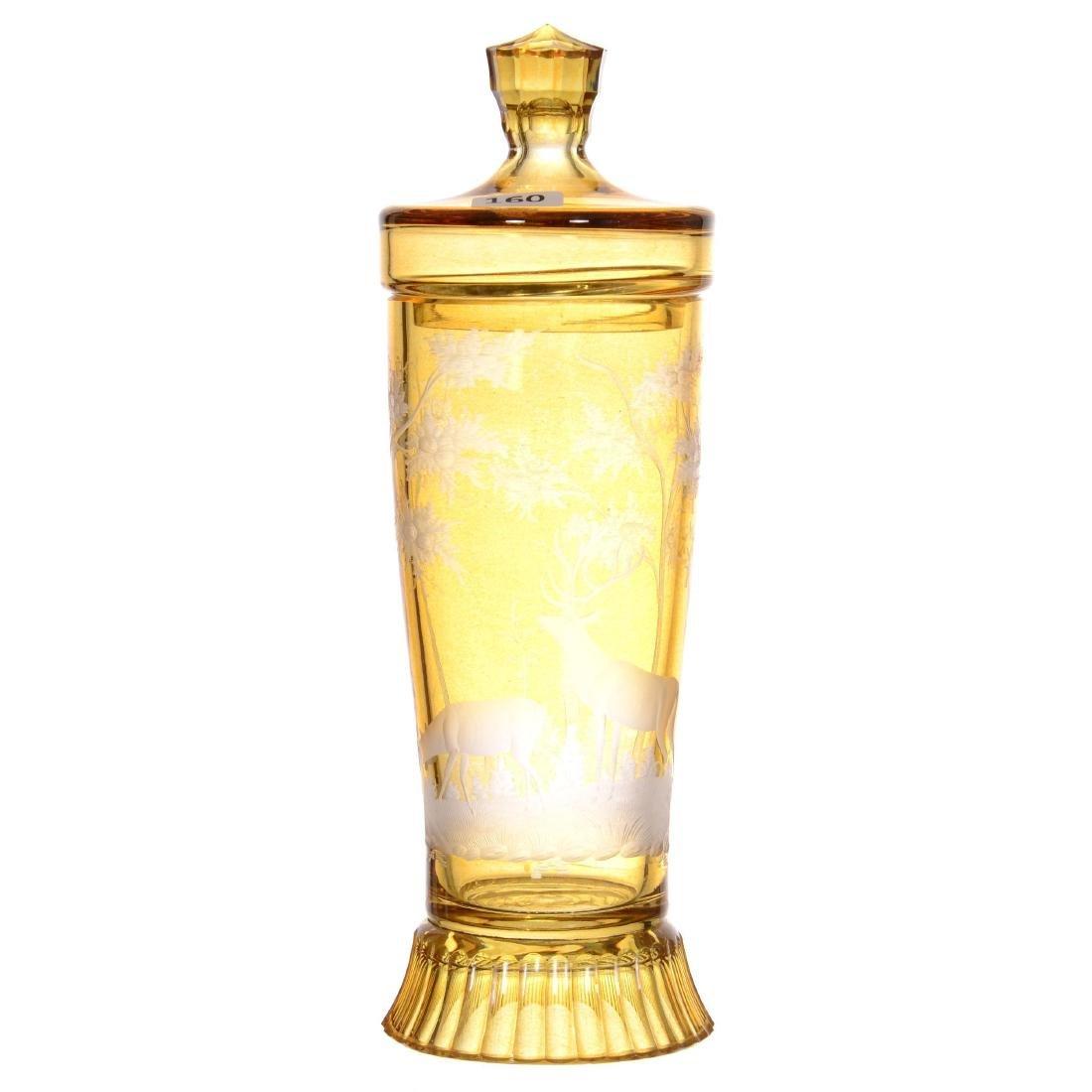 Bohemian Art Glass Covered Jar
