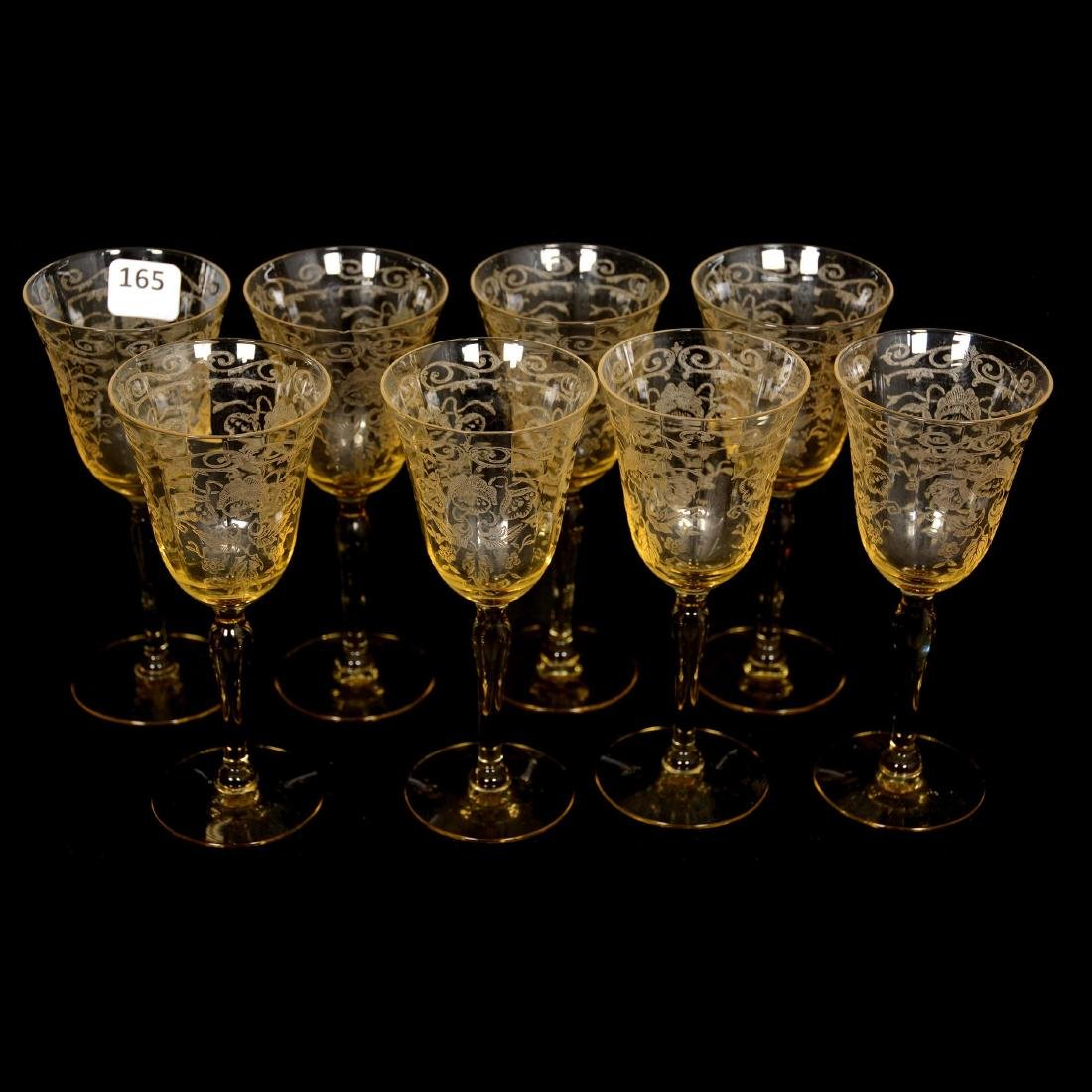 (8) Cambridge Art Glass Wine Glasses