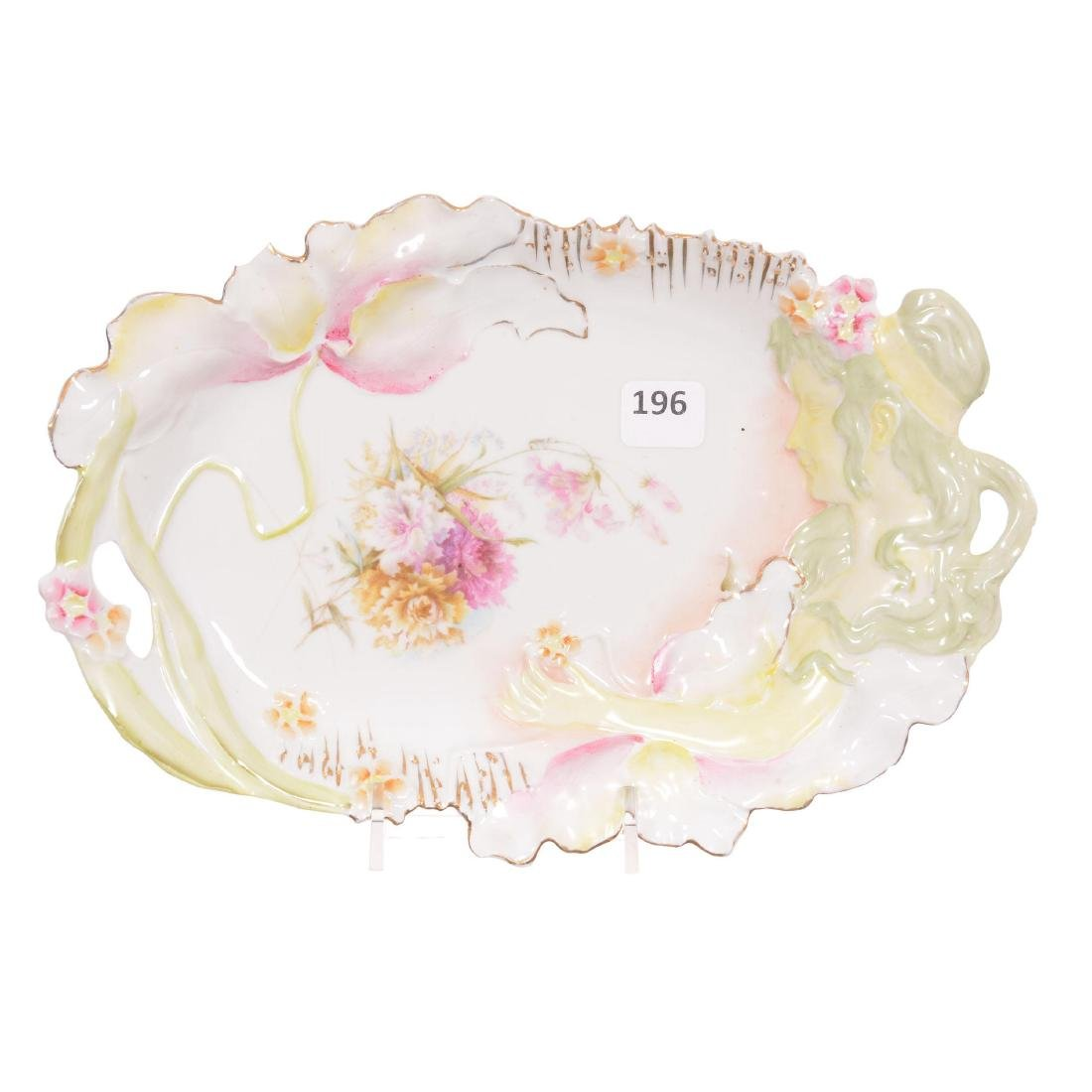 Unmarked Prussia Hidden Image Oval Tray