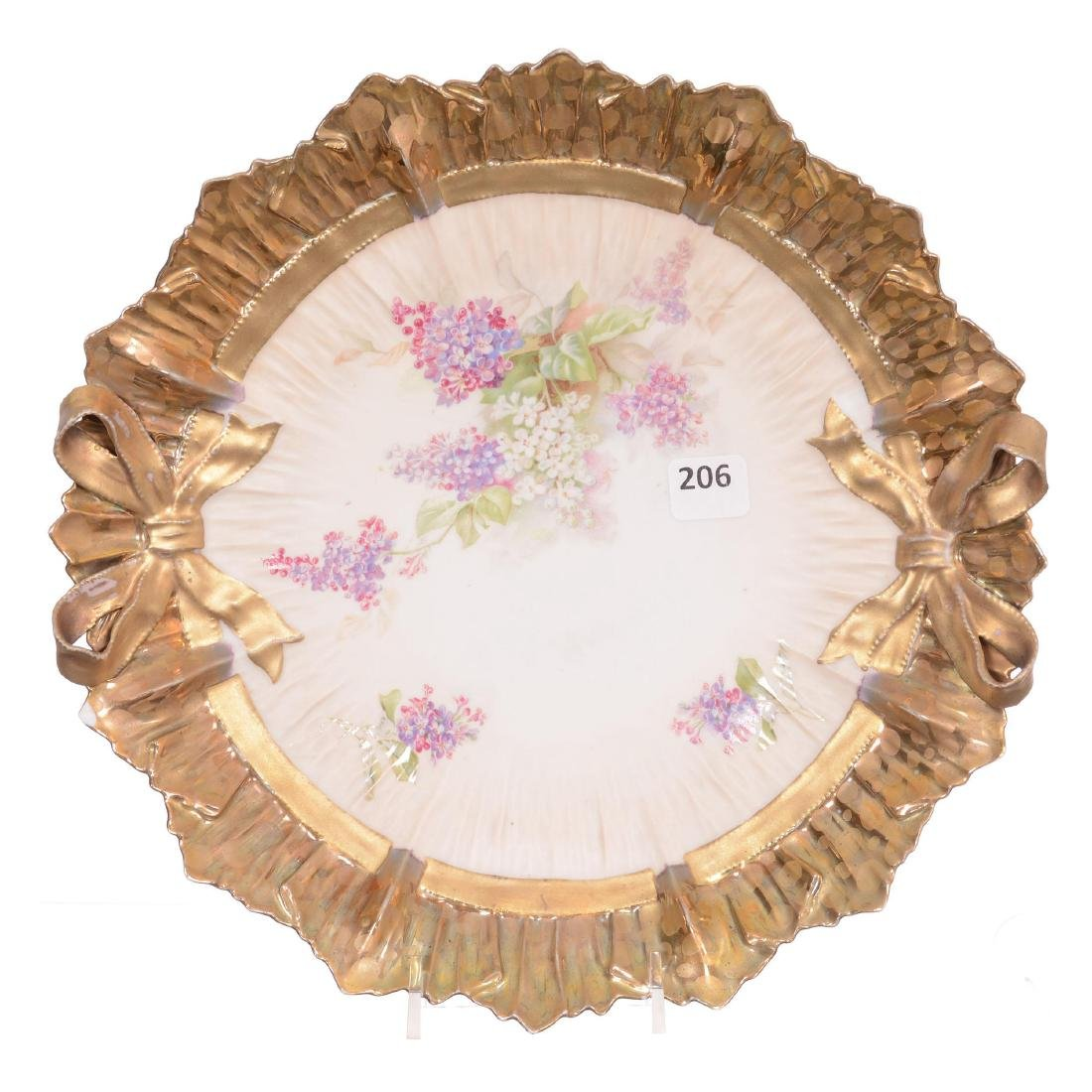 Unmarked R.S. Prussia Bowtie Mold Cake Plate