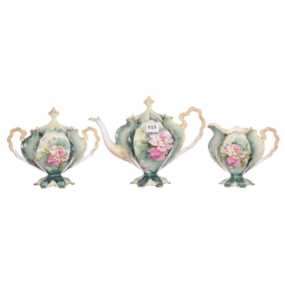 Unmarked Three Piece R.S. Prussia Tea Set