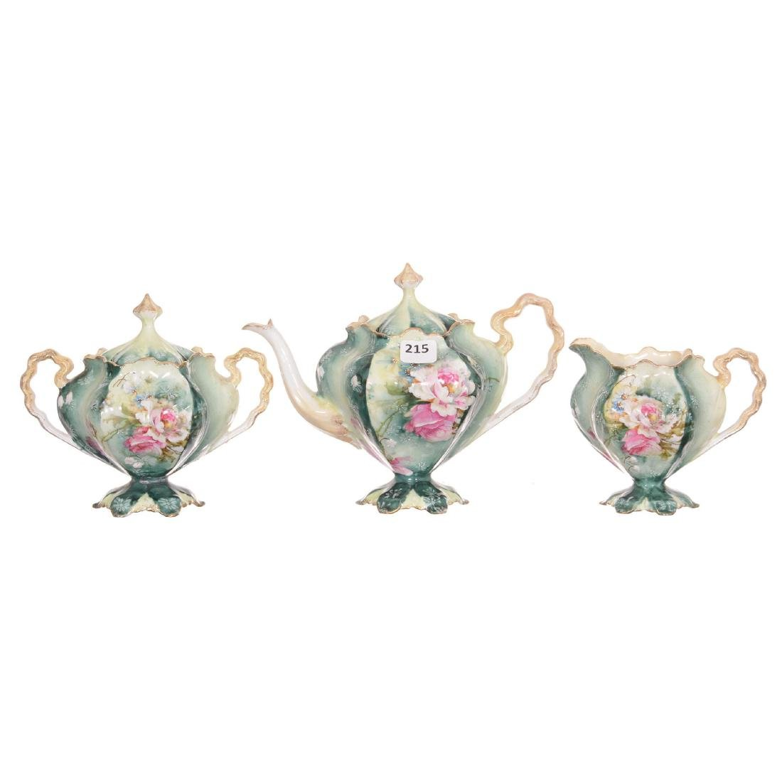 Unmarked Three Piece R.S. Prussia Tea Set