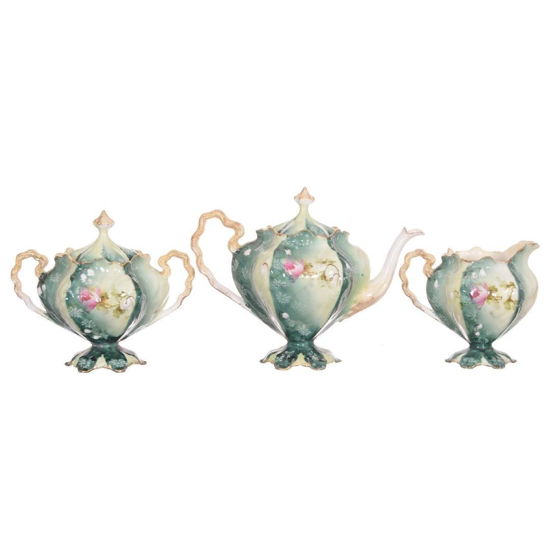 Unmarked Three Piece R.S. Prussia Tea Set - 2