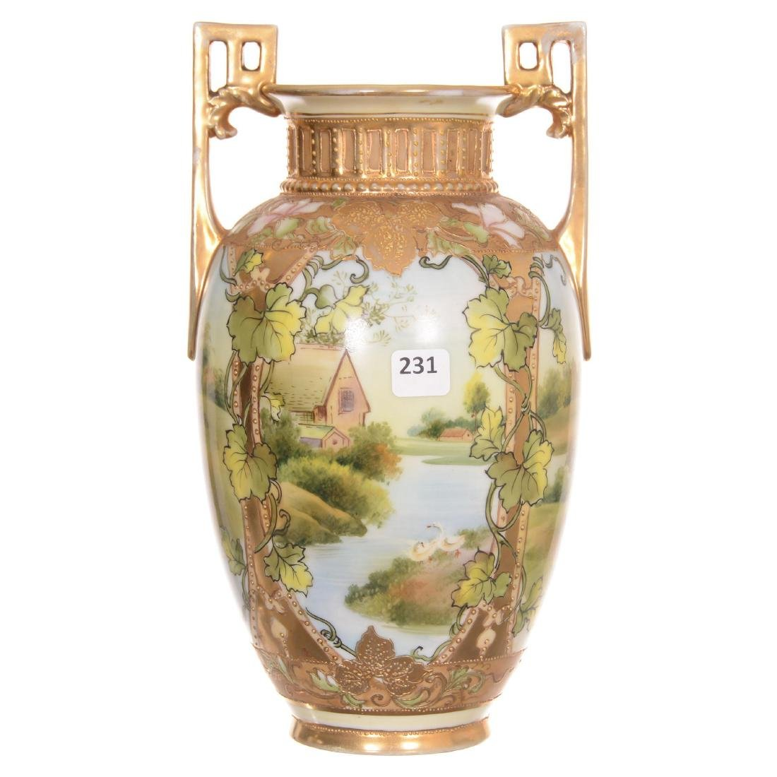 Unmarked Nippon Two-Handled Vase