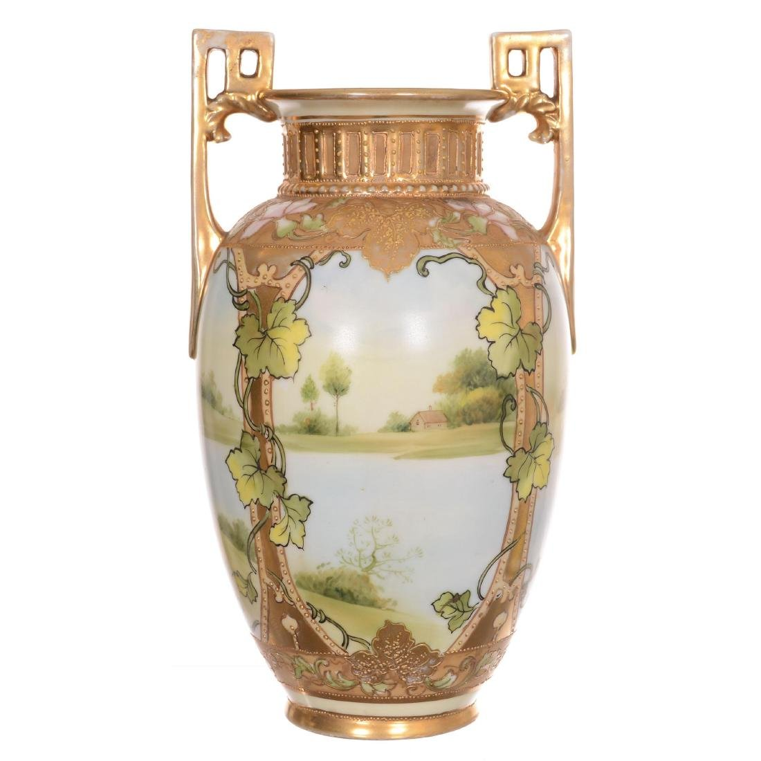 Unmarked Nippon Two-Handled Vase - 2
