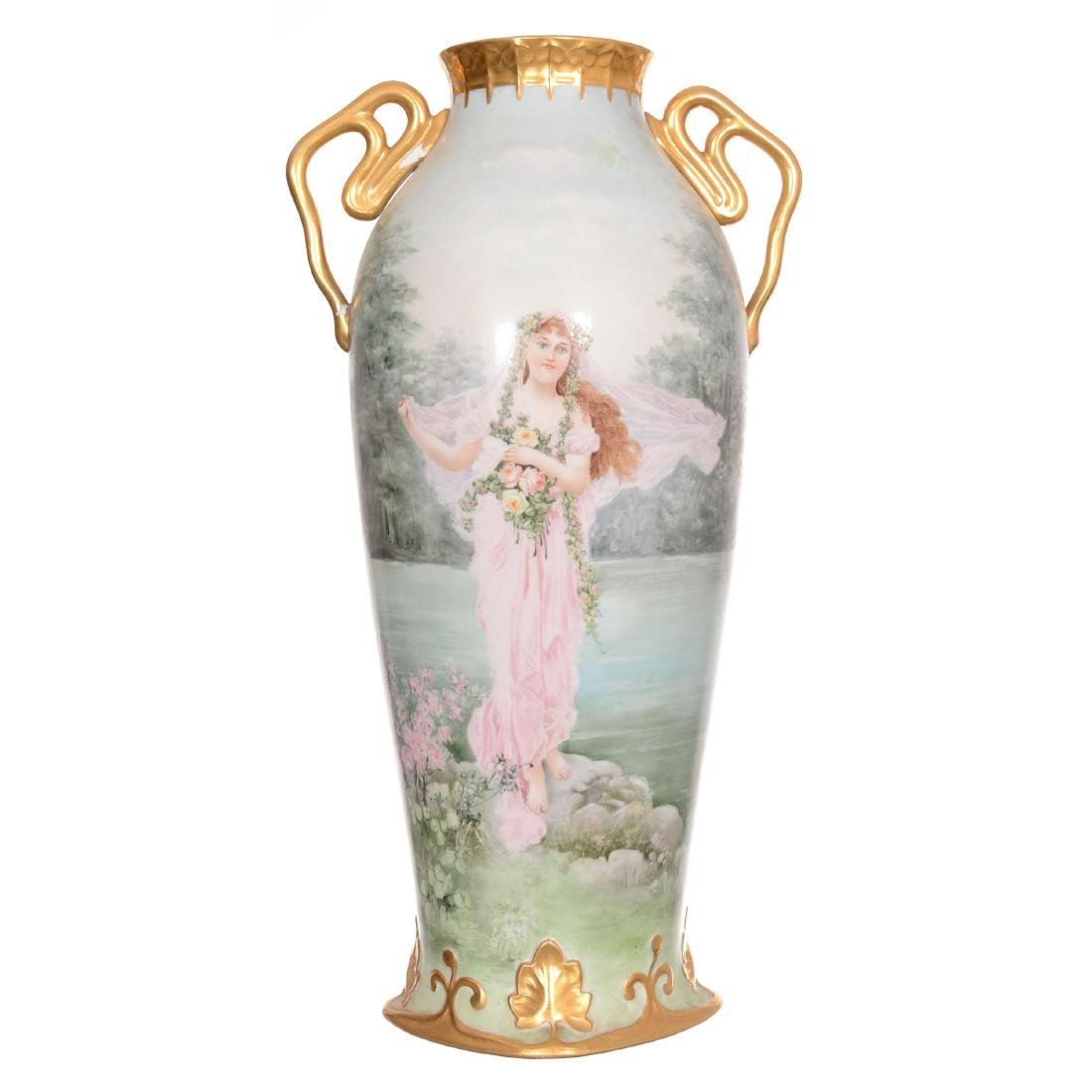 Unmarked Limoges Style Two-Handled Vase