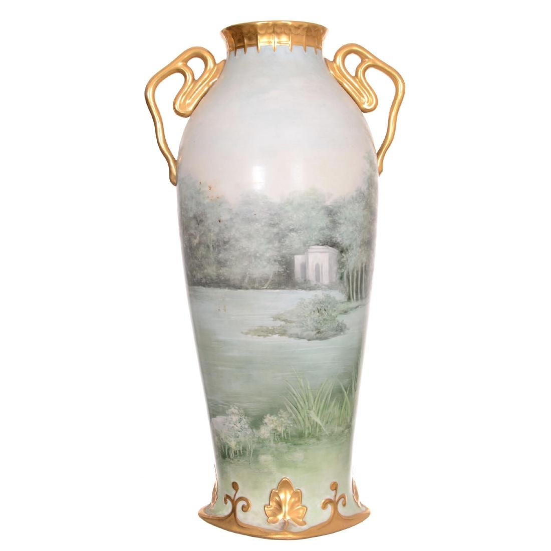 Unmarked Limoges Style Two-Handled Vase - 3