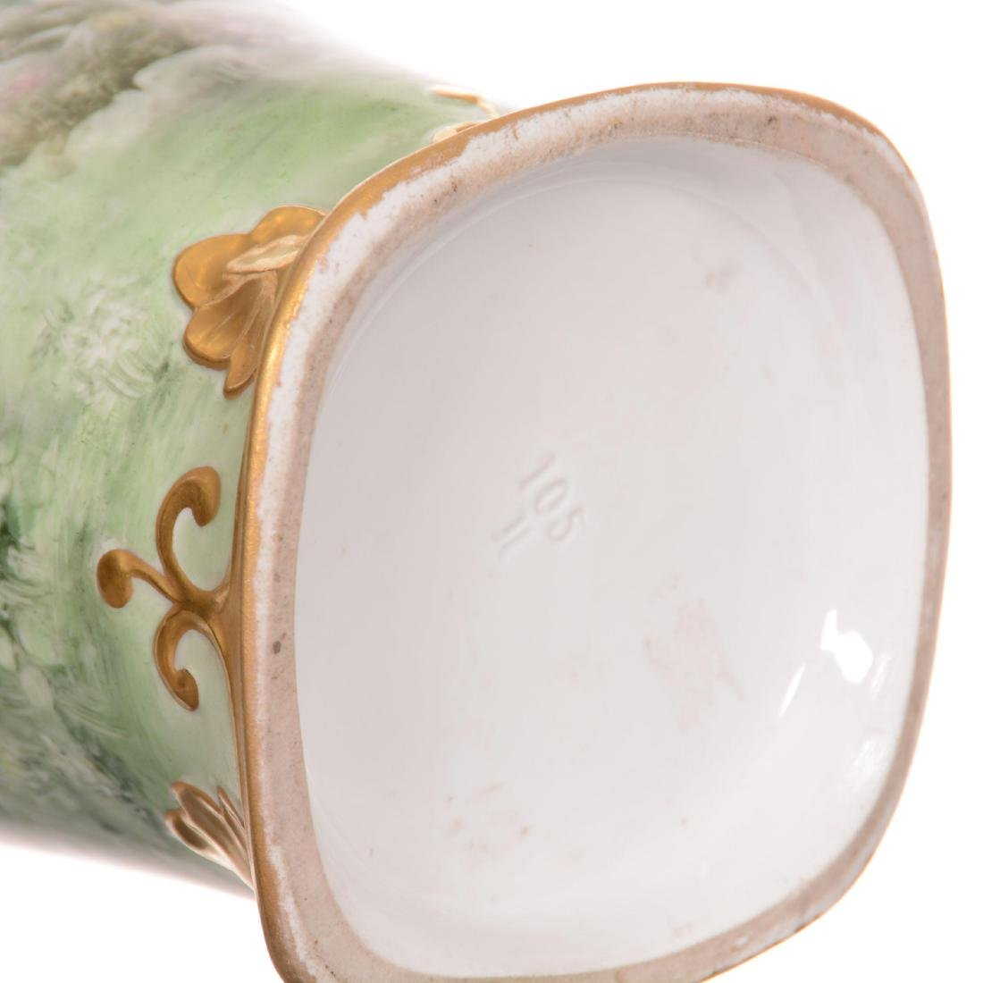 Unmarked Limoges Style Two-Handled Vase - 4