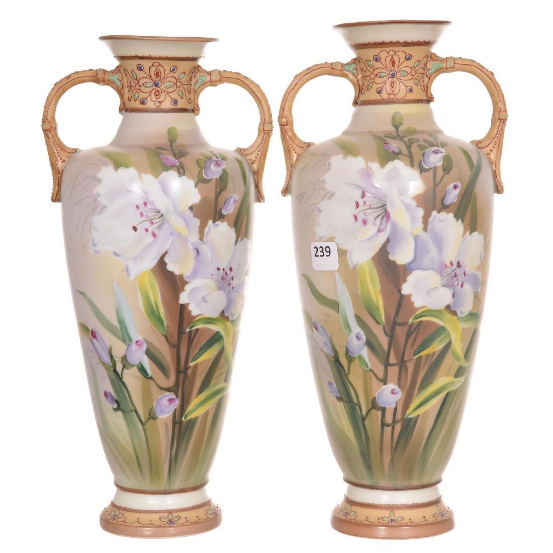 Pair Nippon Two-Handled Vases