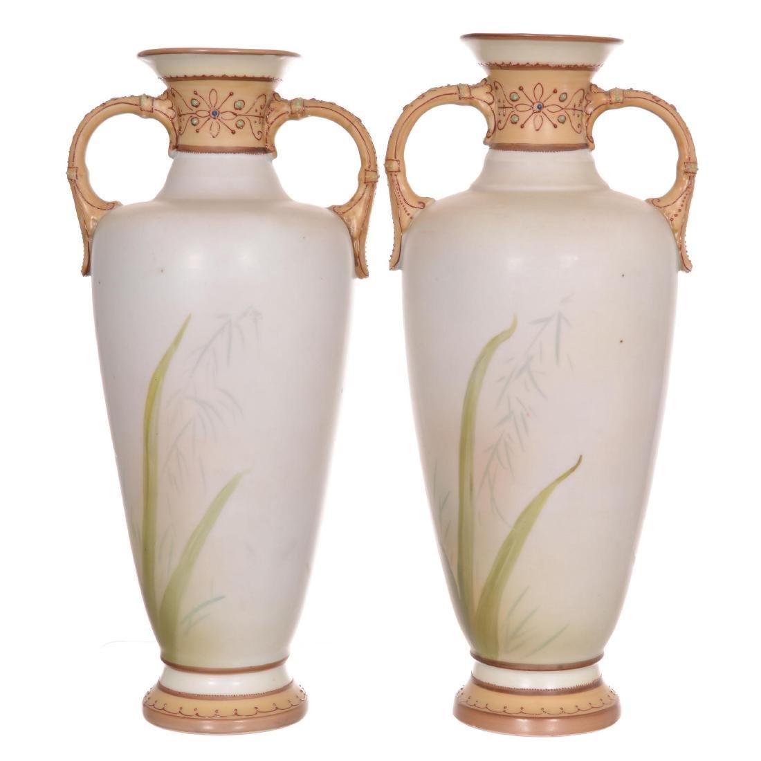 Pair Nippon Two-Handled Vases - 2
