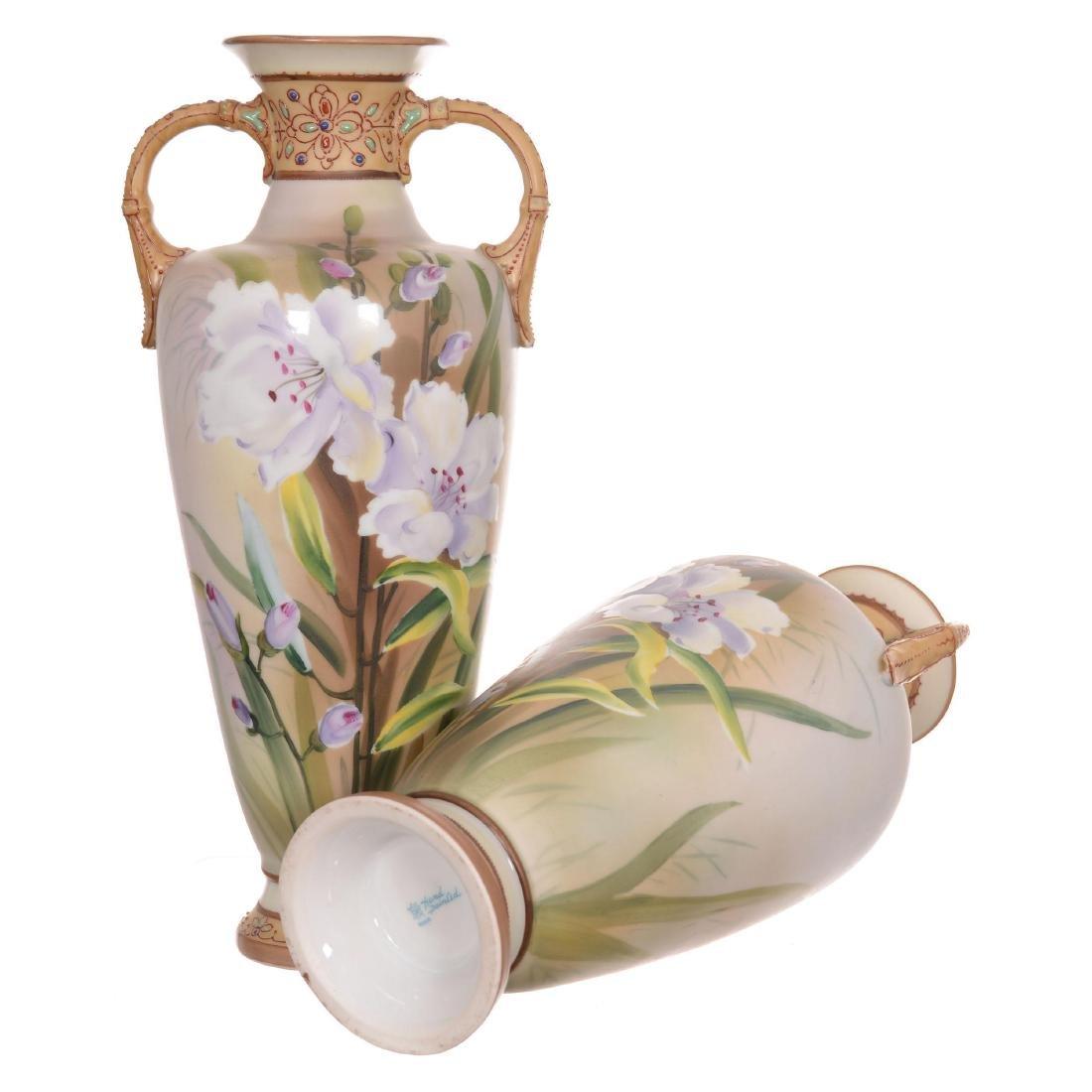 Pair Nippon Two-Handled Vases - 3