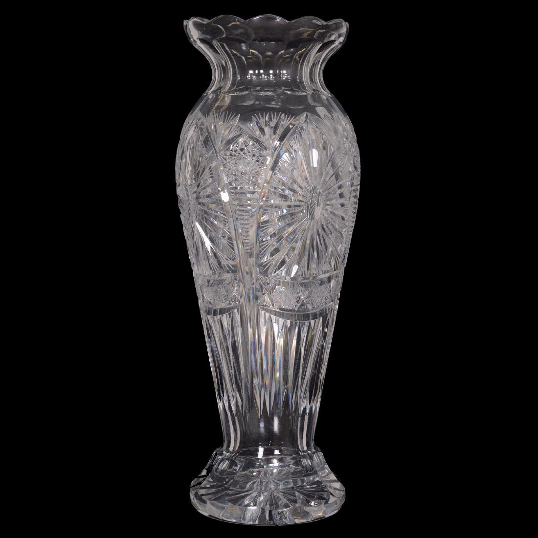Heavy Cut Glass Vase - Unknown Age