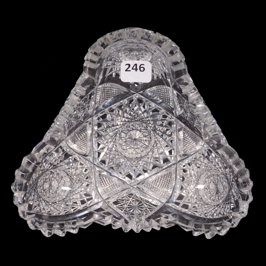 American Brilliant Cut Glass Triangular Dish