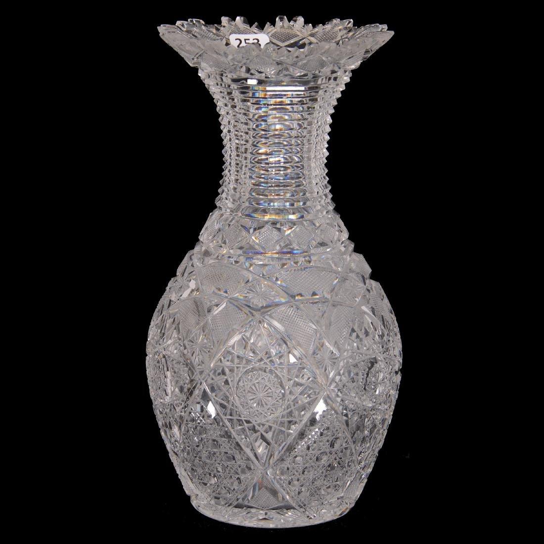 American Brilliant Cut Glass Bowling Pin Vase