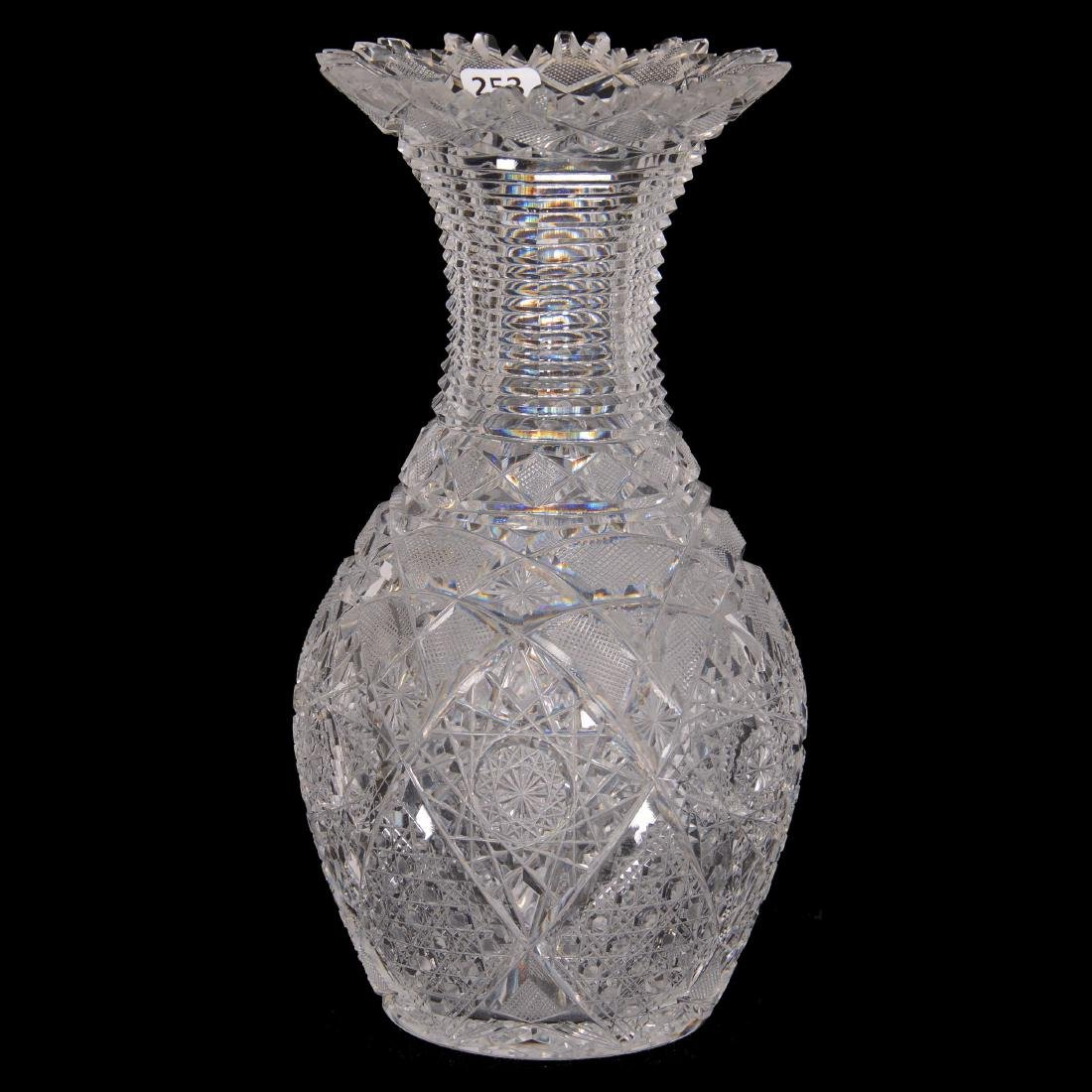 American Brilliant Cut Glass Bowling Pin Vase