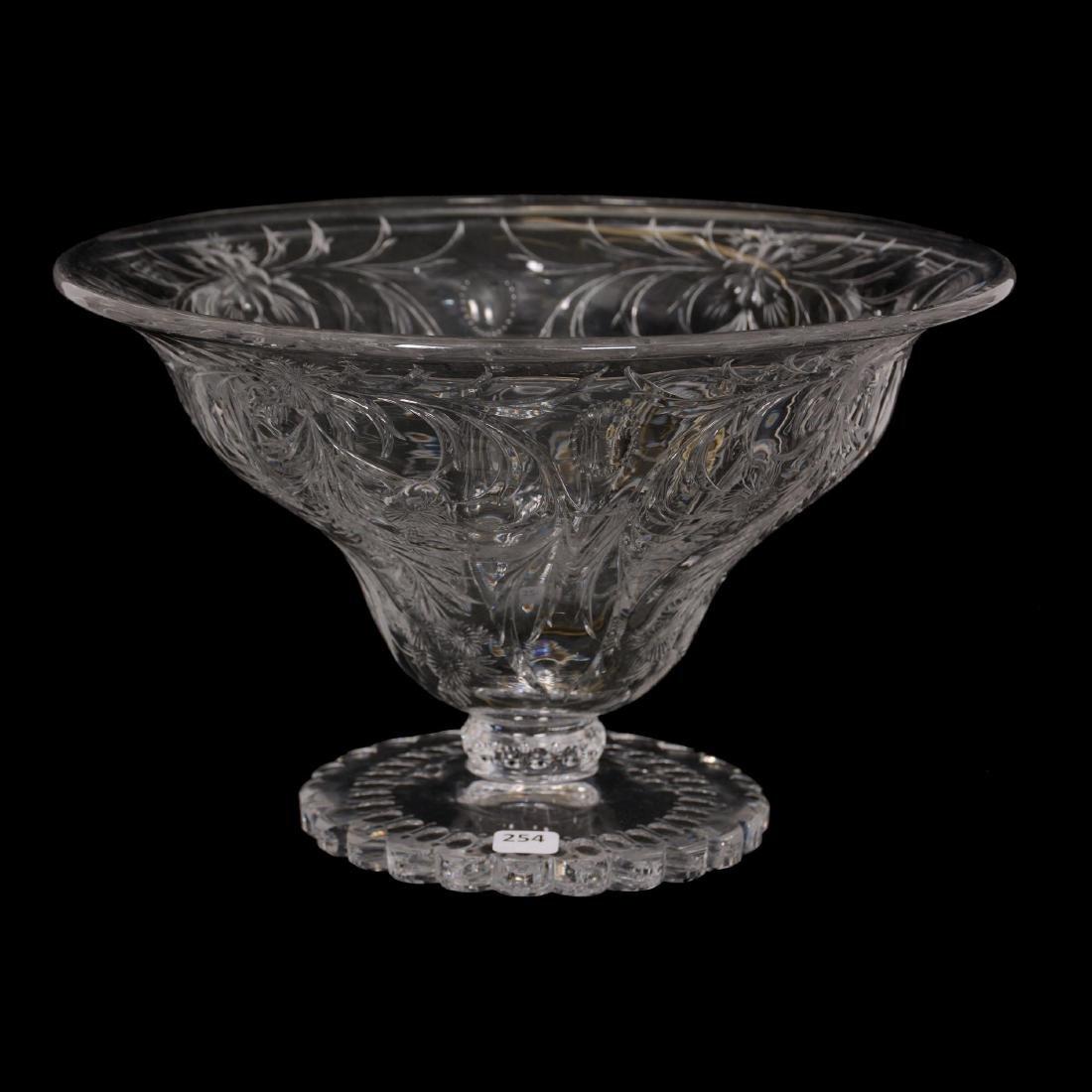 American Brilliant Cut Glass Pedestal Center Bowl