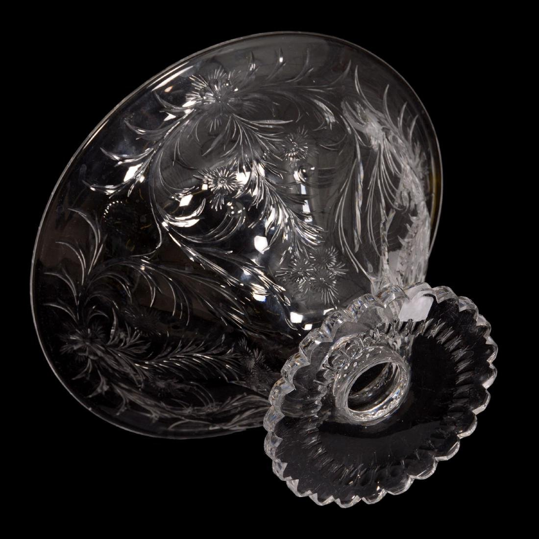 American Brilliant Cut Glass Pedestal Center Bowl - 2