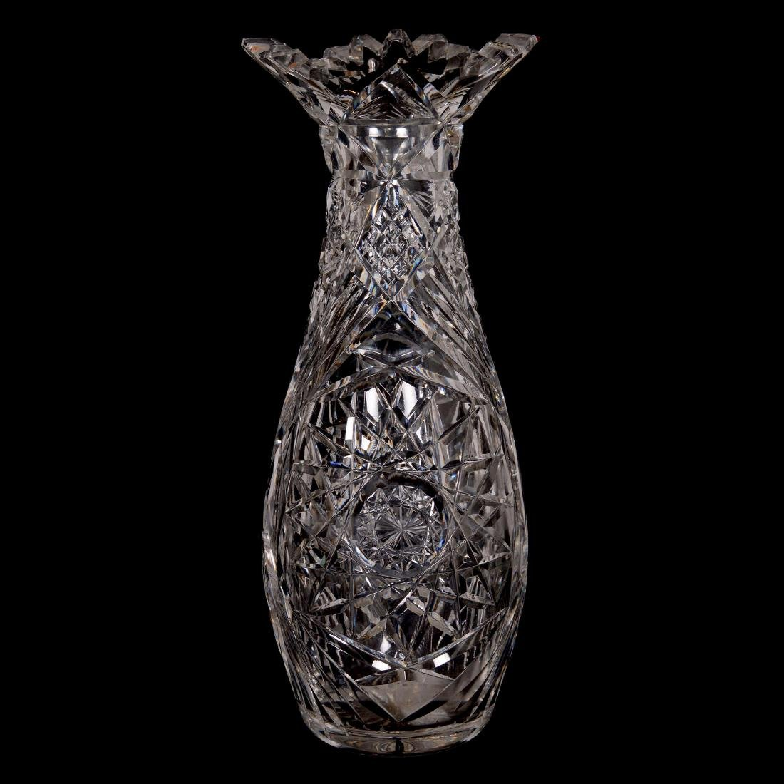 American Brilliant Cut Glass Bulbous Vase
