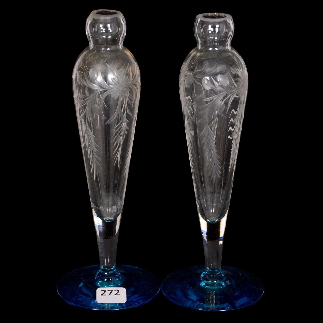 Pair Cut Glass Vases