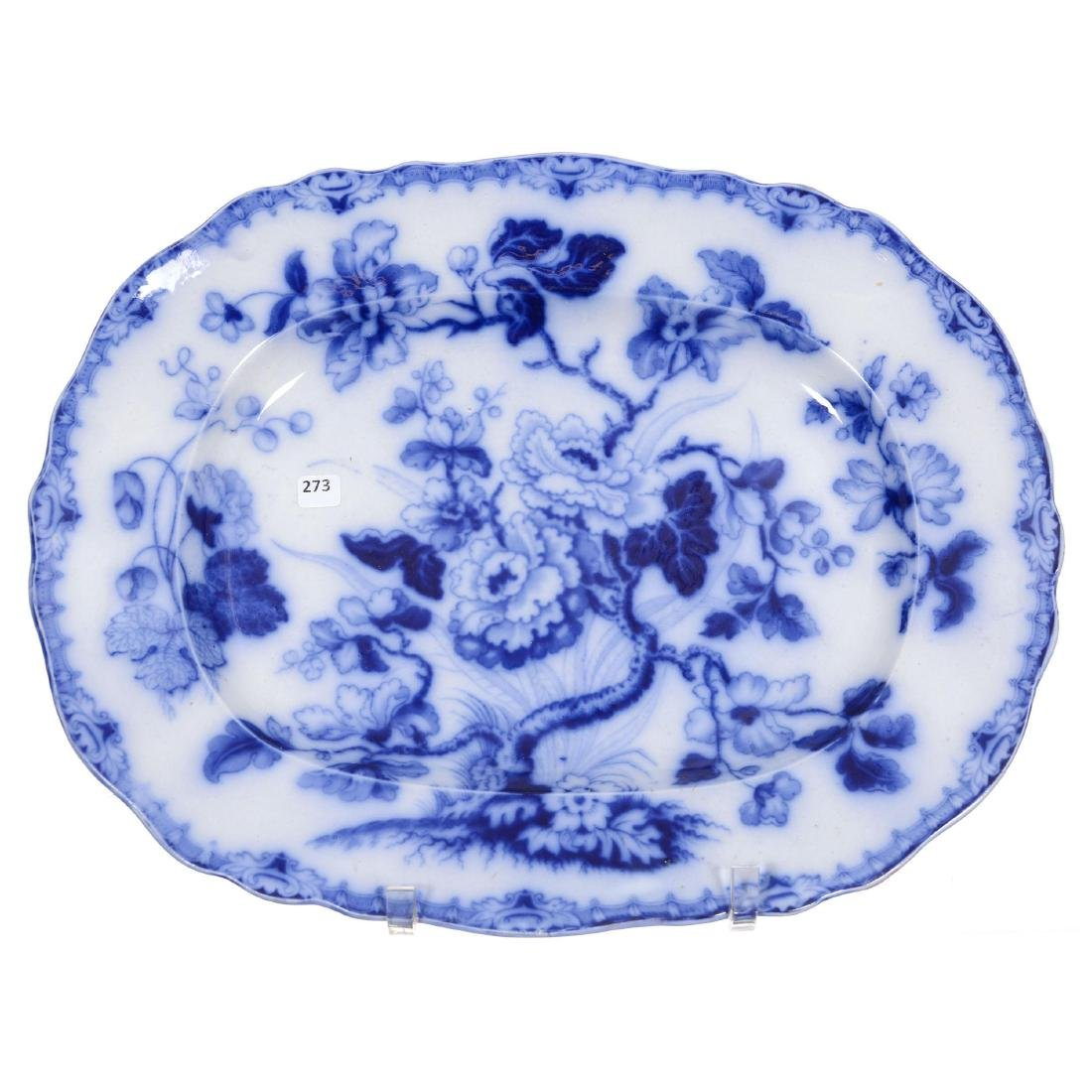 Flow Blue Indian Tree Pattern Tray