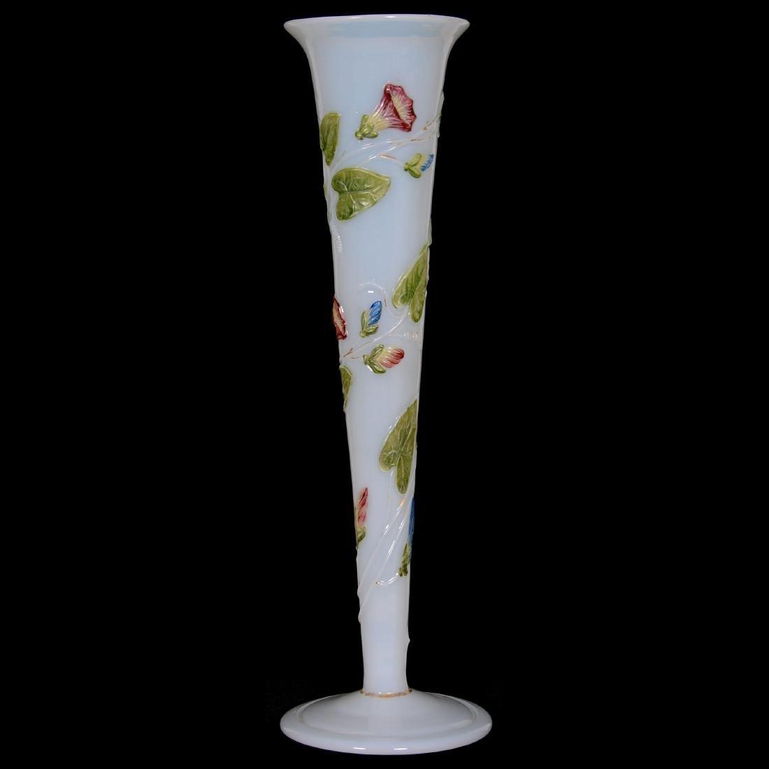 French Opaline Art Glass Trumpet Vase