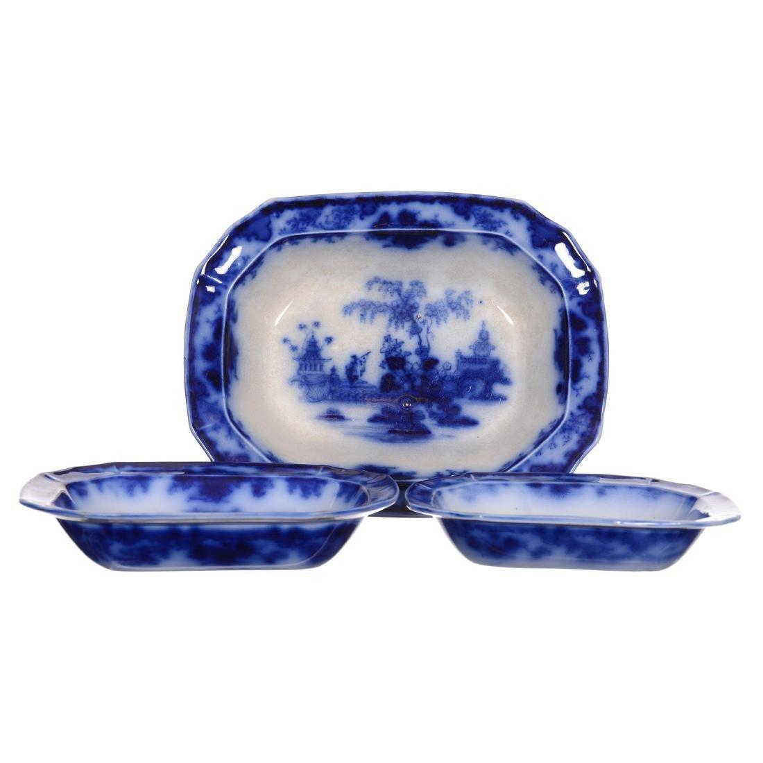 Flow Blue Scinde Pattern Set of (3) Nesting Bowls