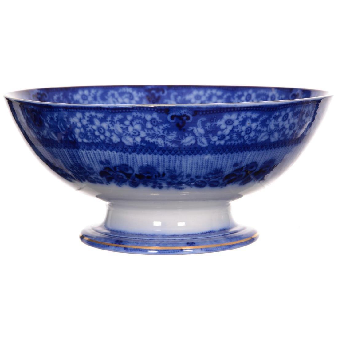Flow Blue Grecian Pattern Pedestal Punch Bowl