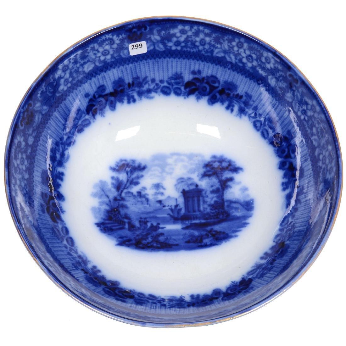 Flow Blue Grecian Pattern Pedestal Punch Bowl - 2