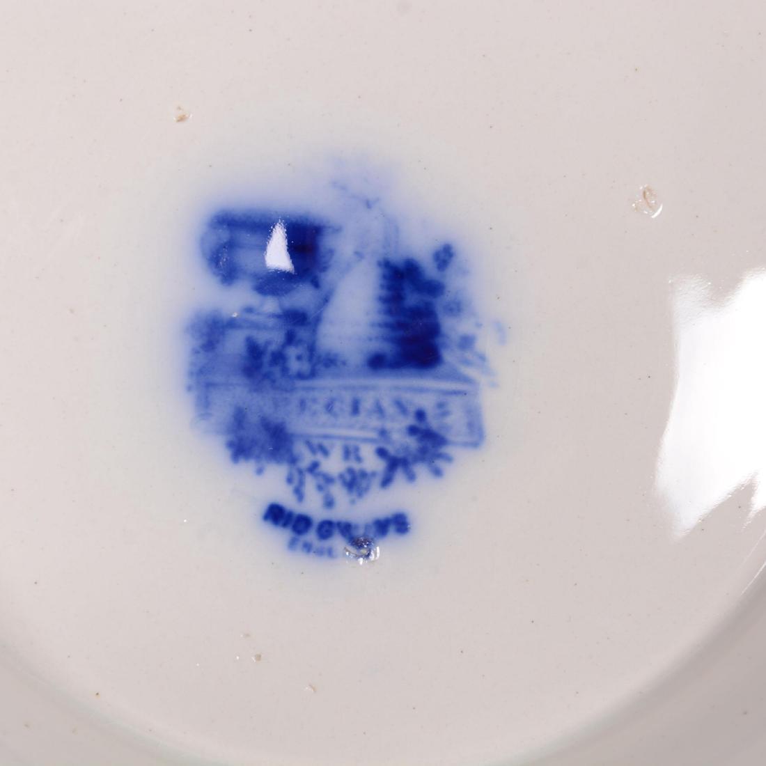 Flow Blue Grecian Pattern Pedestal Punch Bowl - 3