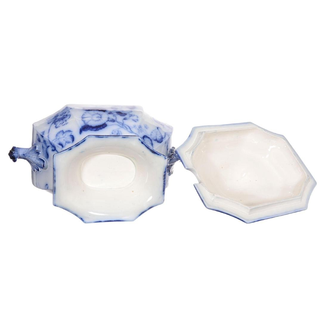 Flow Blue Morning Glory Pattern Covered Tureen - 2