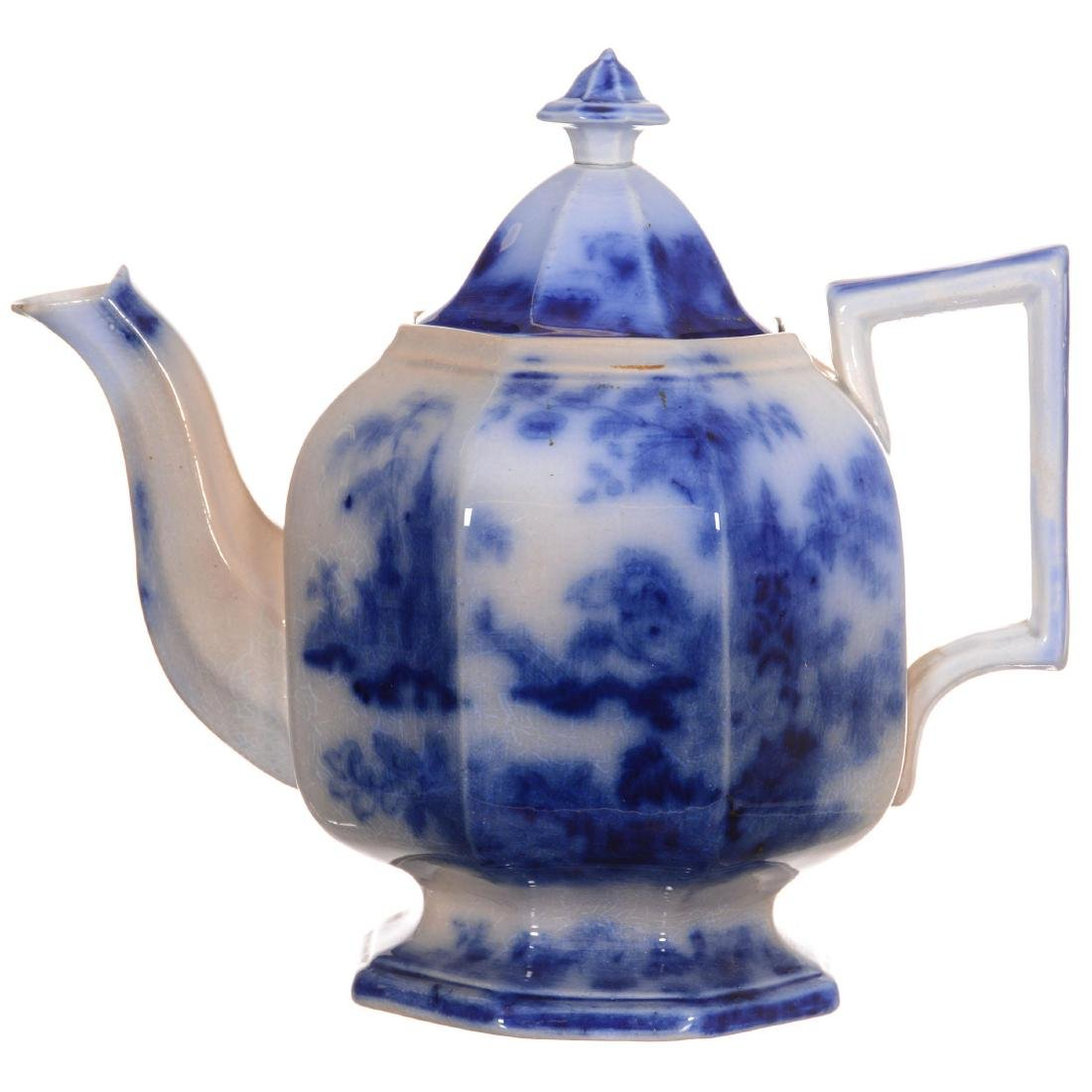 Flow Blue Sobraon Pattern Tea Pot