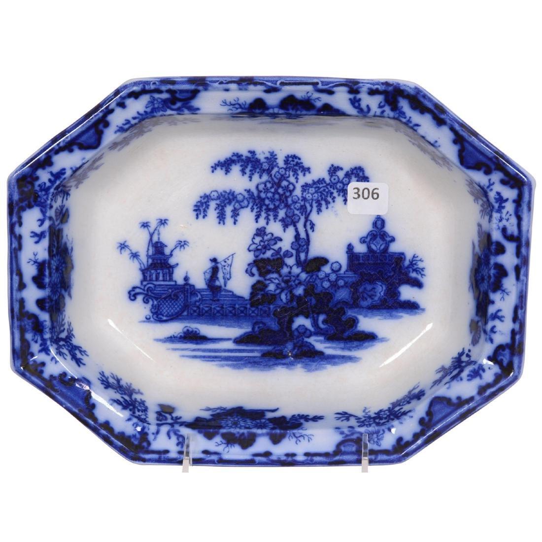 Flow Blue Scinde Pattern Vegetable Dish