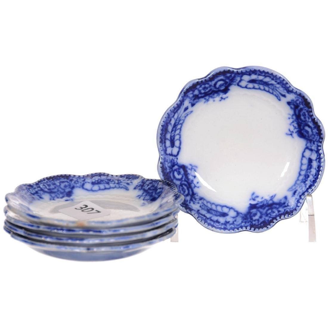 (5) Flow Blue Butter Pats