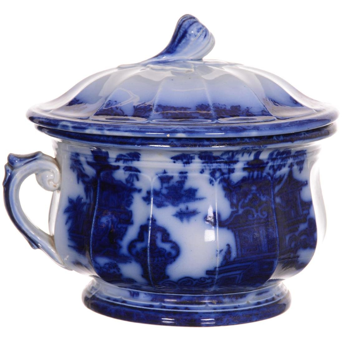 Flow Blue the Temple Pattern Covered Chamber Pot